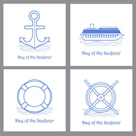 Day of the Seafarer cards set. Vector illustration Illustration