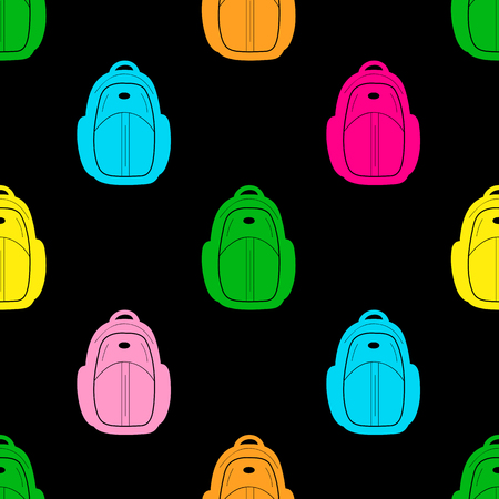 Seamless pattern with colorful backpacks on the black background. Vector illustration
