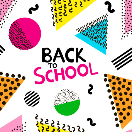 Back to school background with colorful geometric figures. Illustration