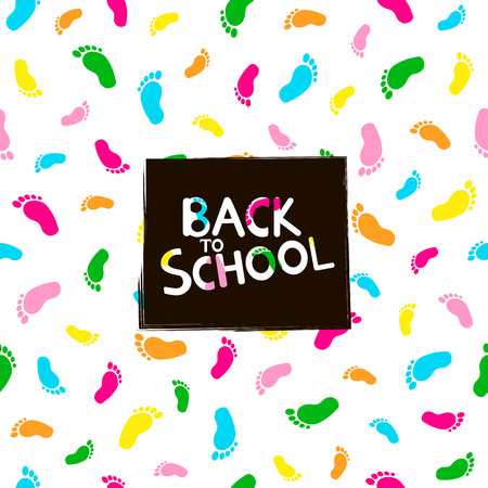 Back to school background with colorful footprints. Illustration