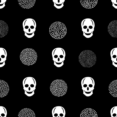 Seamless pattern with white skulls and circles on the black background.