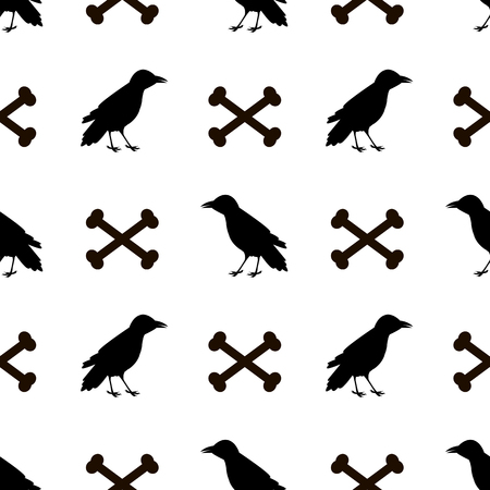 Seamless pattern with black ravens and bones on the white background . Vector illustration