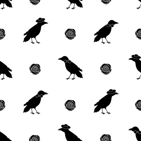 Seamless pattern with black ravens and flowers on the white background . Vector illustration