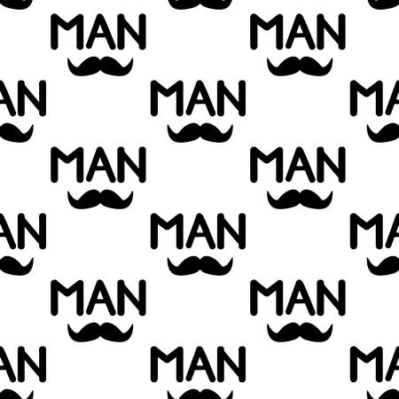 Nahtloses Muster mit schwarzem Schnurrbart und Wort Mann. Vektor-Illustration