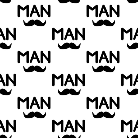 Seamless pattern with black mustache and word Man . Vector illustration