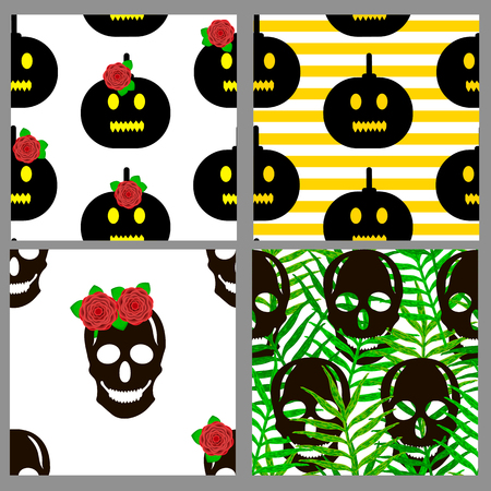 Seamless patterns set with skulls and pumpkins. Vector illustration