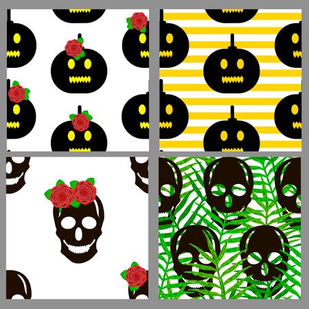 Seamless patterns set with skulls and pumpkins. Vector illustration