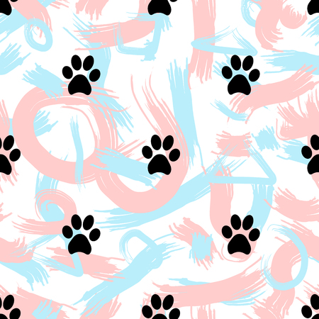 Seamless patterns with black animal footprints and abstract brush strokes. Vector illustration