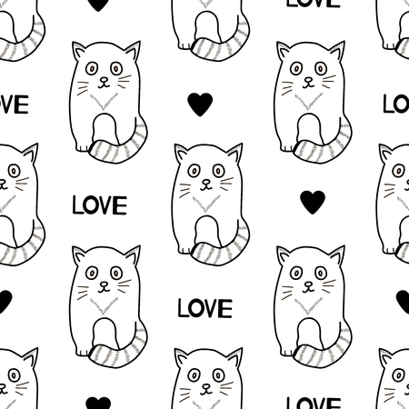 Seamless patterns with cats, hearts and words Love. Vector illustration