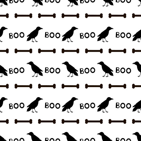 Seamless pattern with black ravens, bones and words Boo on the white background . Vector illustration