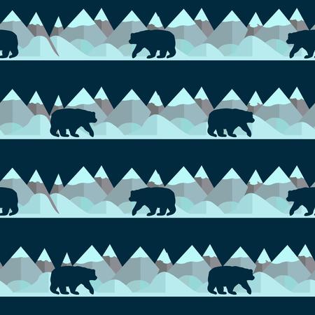 Seamless pattern with bear and mountains on the blue background. Vector illustration Vektoros illusztráció