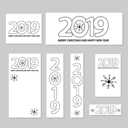 Number 2019, snowflakes and text Merry Christmas and Happy New Year on the white background. Web banners templates set.  Vector illustration