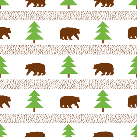 Seamless pattern with bear and fir-tree on the white background. Vector illustration