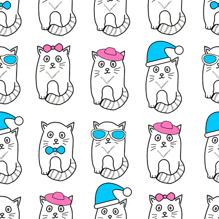 Seamless patterns with cats, glasses, hats and bows. Vector illustration