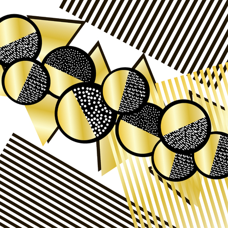 Background with black and gold geometric figures. Vector illustration.