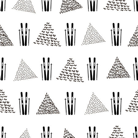 Seamless pattern with black skis and triangles on the white background. Vector illustration