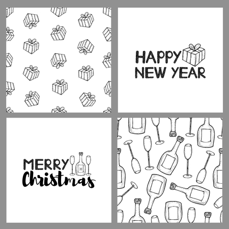 New year and Christmas holidays seamless patterns and cards. Vector illustration. Stock Illustratie