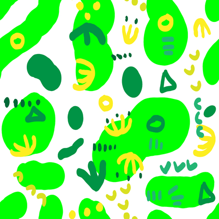 Seamless pattern with green and yellow abstract figures. Vector illustration Stock Illustratie