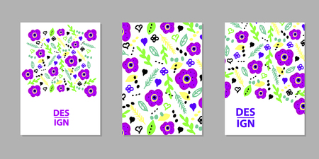 Floral Colorful backgrounds. Templates for card, banner, poster, flyer, cover. Vector illustration Stock Illustratie