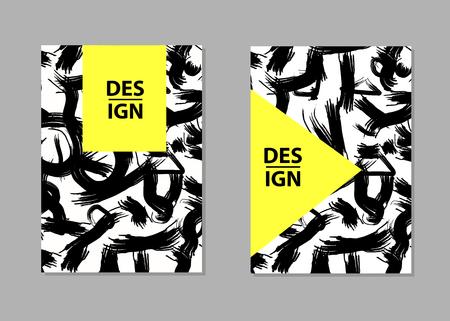 Black brush strokes backgrounds. Templates for card, banner, poster, flyer, cover. Vector illustration Stock Illustratie