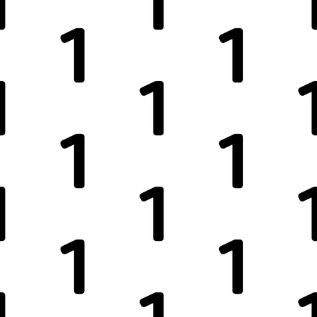 Seamless pattern with numeral one on the white background.  Vector illustration