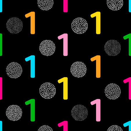 Seamless pattern with colorful numeral one and circles on the black background. Vector illustration