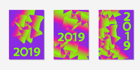 Colorful backgrounds. Number 2019. Templates for card, banner, poster, flyer, cover. Vector illustration