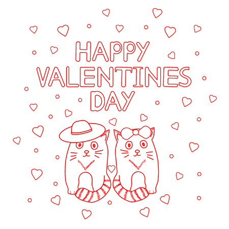 Happy Valentines Day - card with cute cats and hearts. Vector illustration Stock Illustratie