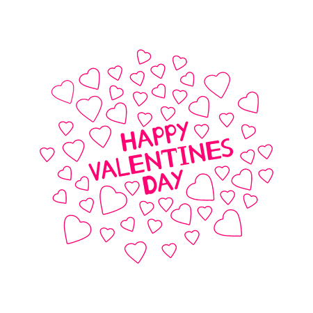 Happy Valentines Day - card with hearts. Vector illustration