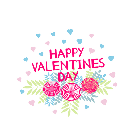 Happy Valentines Day - card with hearts and flowers. Vector illustration