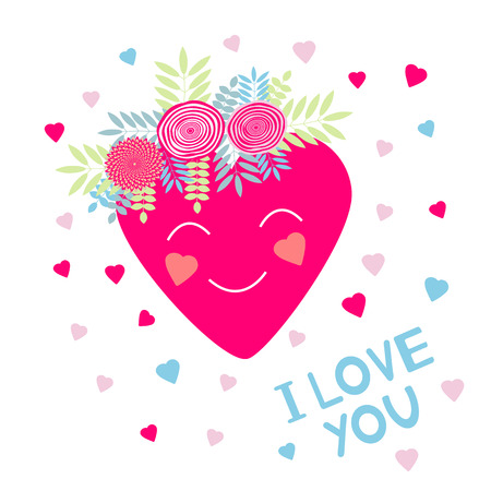I Love you - card with hearts and flowers. Vector illustration Stock Illustratie