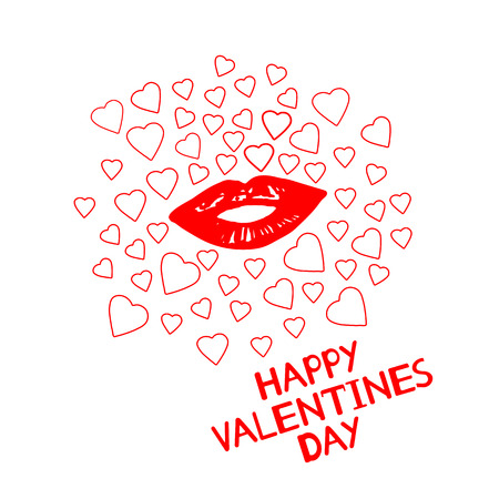 Happy Valentines Day - card with hearts and lips. Vector illustration