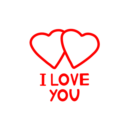 I Love you - card with hearts. Vector illustration