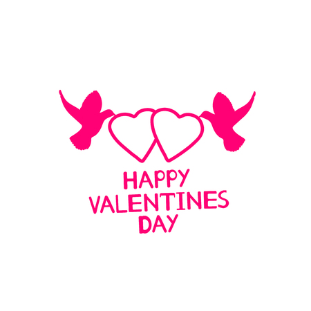 Happy Valentines Day - card with hearts and birds. Vector illustration