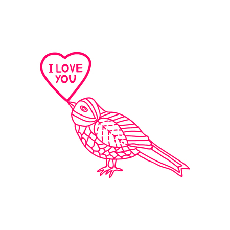 I Love you - card with heart and bird. Vector illustration