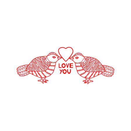 Love you - card with heart and birds. Vector illustration Stock Illustratie