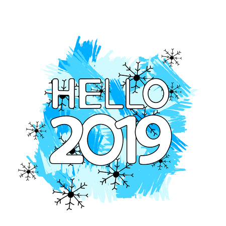 Hello 2019, blue brush strokes and snowflakes on the white background.  Vector illustration Banque d'images - 115137902
