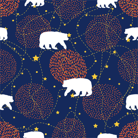 Seamless pattern with white bear, creative circles and stars. Vector illustration