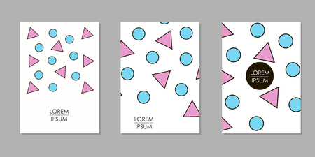 Colorful geometric backgrounds. Templates for cover, card, banner, poster. Vector illustration Stock Illustratie
