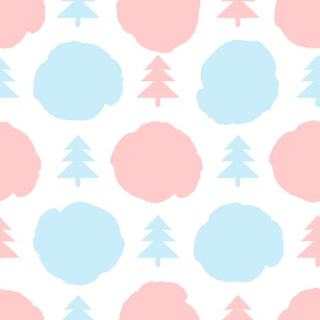 Seamless pattern with pink and blue firs, dots on the white background. Soft colors. Vector illustration