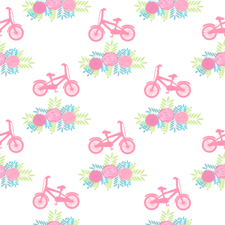 Seamless pattern with pink bicycles and flowers on the white background. Vector illustration Stock Illustratie