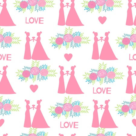 Seamless pattern with pink silhouettes of the brides and flowers on the white background. Same-sex marriage. Vector illustration