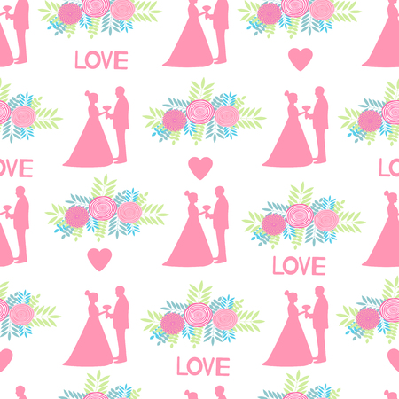 Seamless pattern with pink silhouettes of the bride and groom, flowers on the white background. Vector illustration