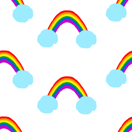 Rainbow and clouds - creative seamless pattern. Vector illustration.