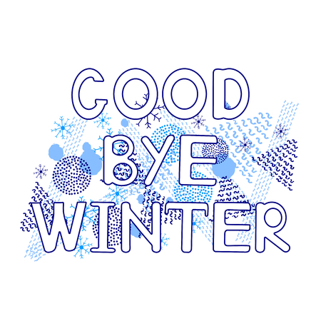 Goodbye winter, geometric figures, snowflakes on the white background. Vector illustration Banque d'images - 122256679