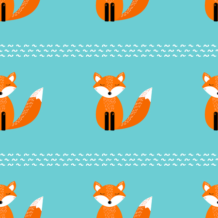 Seamless pattern with cute fox on the green background. Vector illustration Banque d'images - 122124269
