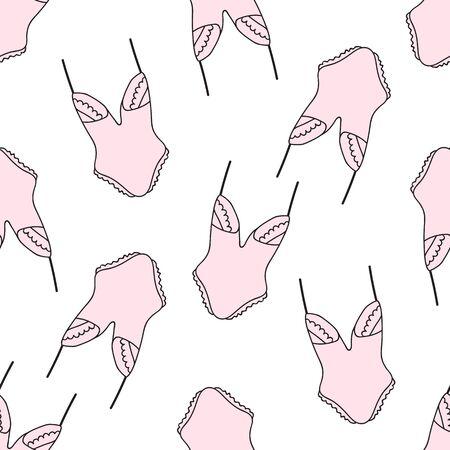 Seamless pattern with women underwear. Lingerie background. Hand drawn. Vector illustration. Stock Illustratie