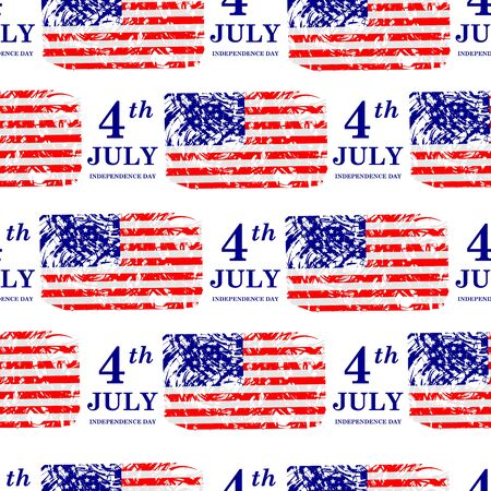 4th of July. Independence Day seamless pattern. American flag. Vector illustration
