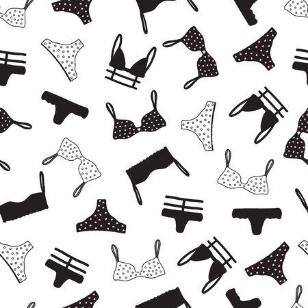 Patrones sin fisuras con ropa interior de mujer. Fondo de lencería. Dibujado a mano. Ilustración de vector. Ilustración de vector