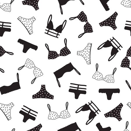 Seamless pattern with women underwear. Lingerie background. Hand drawn. Vector illustration. Illustration